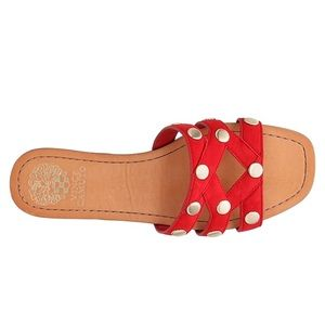Vince camuto red suede slip on sandals flat